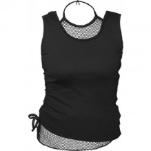 GOTHIC ROCK - 2in1 Neck Tie Mesh Top Black